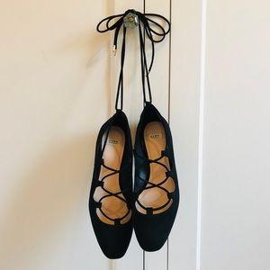 ZARA Black Faux Suede Lace-up Ballerina Flats